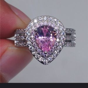 Pear Shaped Pink Stone Cocktail Ring